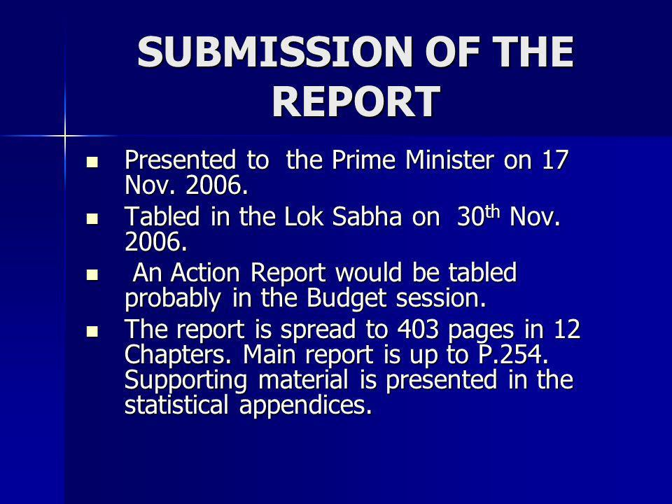 SUBMISSION OF THE REPORT