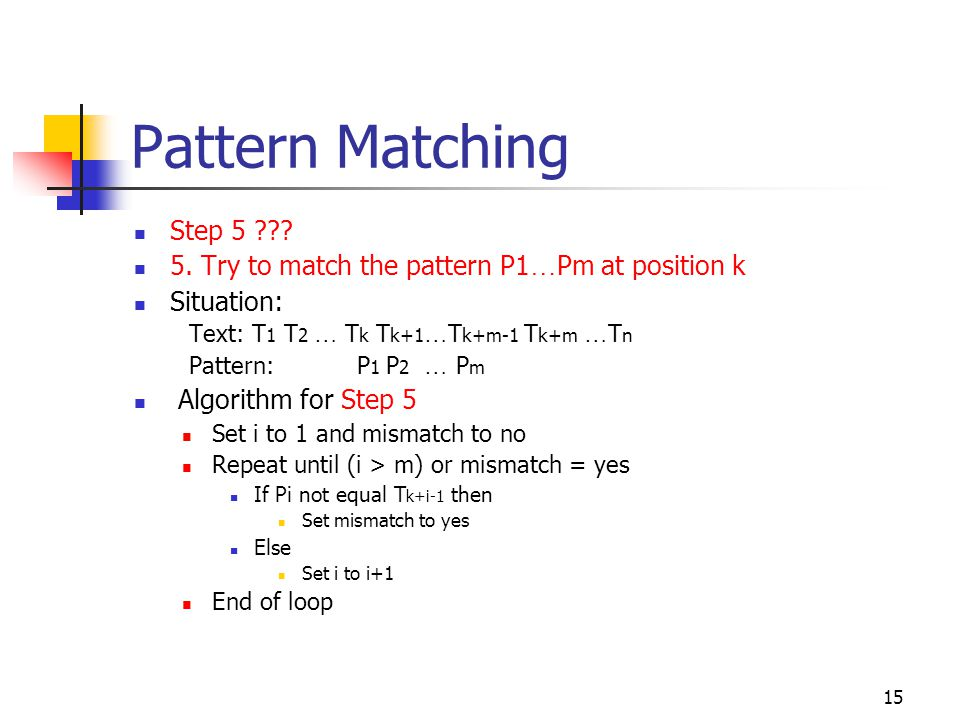 Pattern Matching Step 5 5. Try to match the pattern P1…Pm at position k. Situation: Text: T1 T2 … Tk Tk+1…Tk+m-1 Tk+m …Tn.