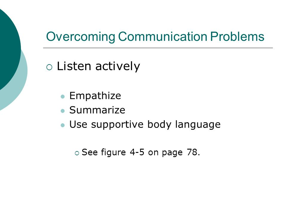 Overcoming Communication Problems