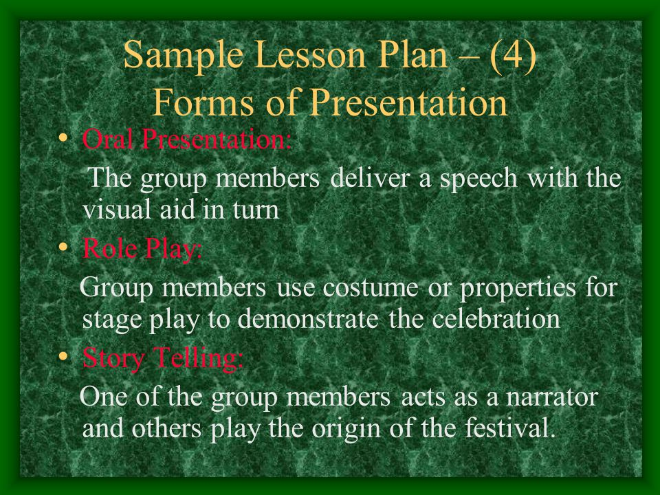 Sample Lesson Plan – (4) Forms of Presentation