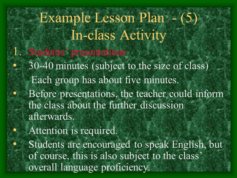 Example Lesson Plan - (5) In-class Activity