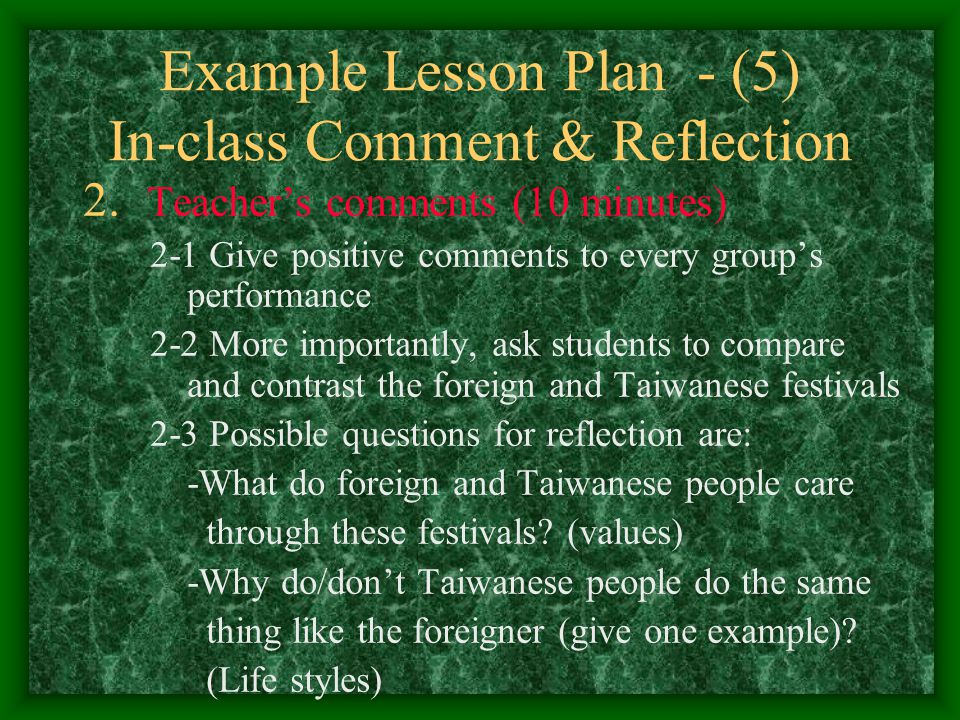 Example Lesson Plan - (5) In-class Comment & Reflection