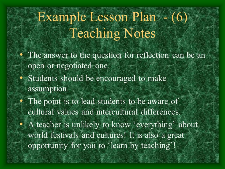 Example Lesson Plan - (6) Teaching Notes