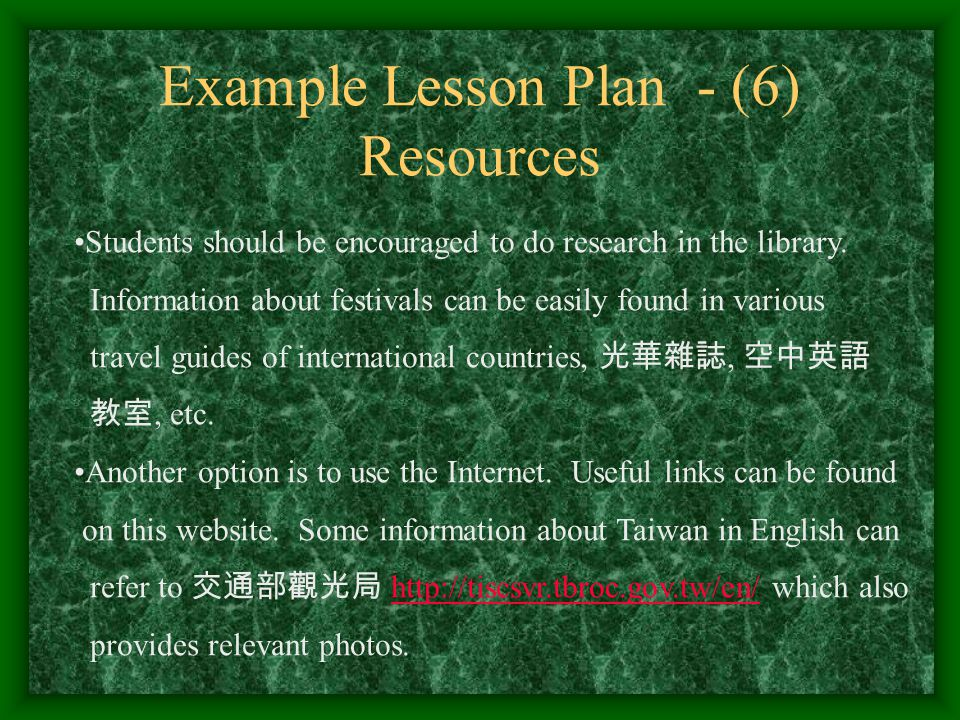 Example Lesson Plan - (6) Resources