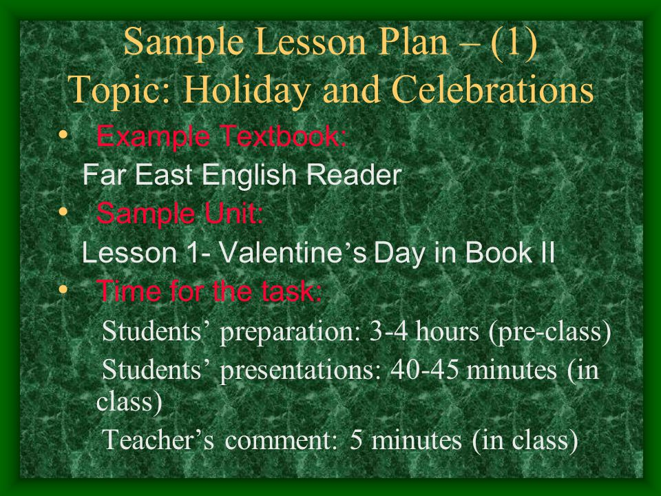Sample Lesson Plan – (1) Topic: Holiday and Celebrations