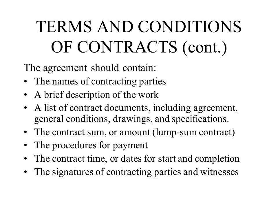 condition of contract in construction