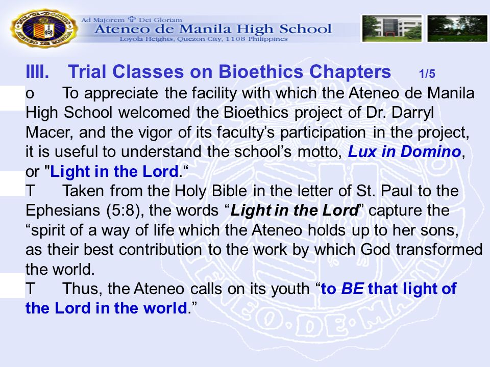 IIII. Trial Classes on Bioethics Chapters 1/5