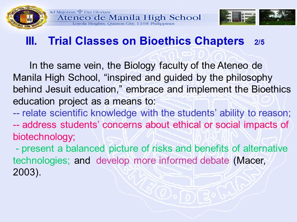 III. Trial Classes on Bioethics Chapters 2/5