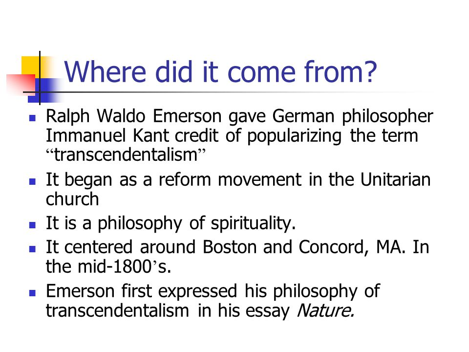 American Transcendentalism  Ralph Waldo Emersonhenry David Thoreau   Where