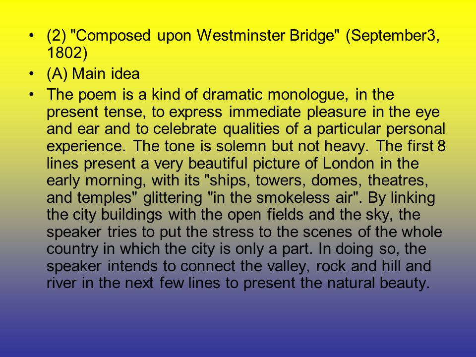 theme of composed upon westminster bridge