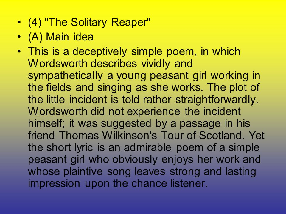 the solitary reaper essay