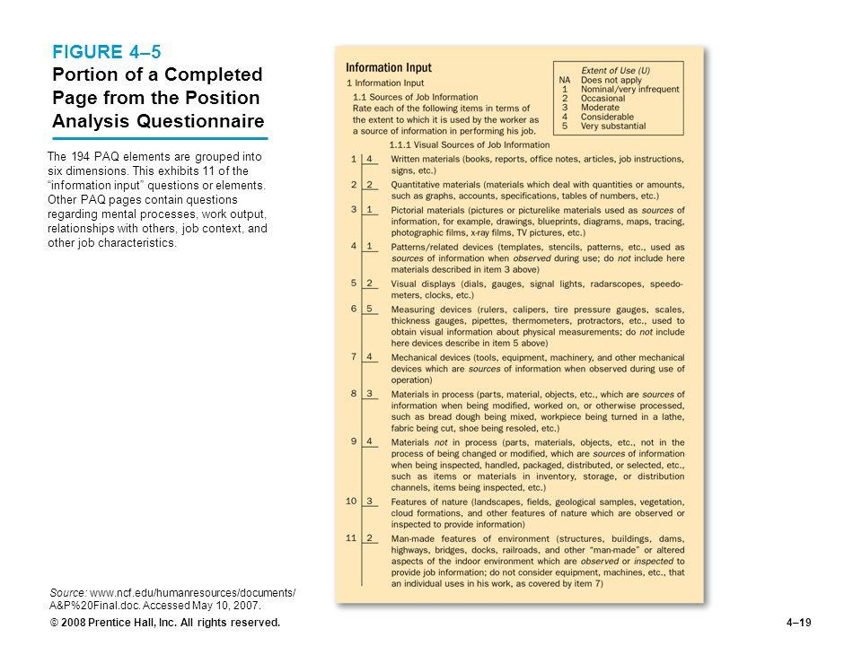 job description questionnaire sample