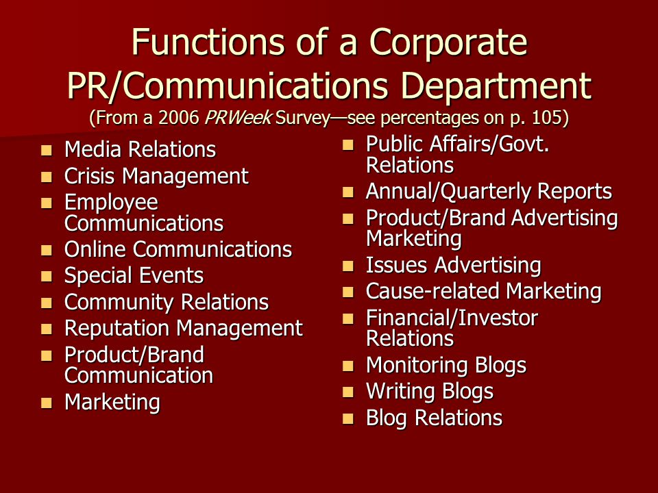 functions of marketing and public relations Whereas public relations is about selling the company or brand through positively managing the communication channels between a company and its stakeholders overall, marketing activities are trying to achieve direct revenue, while pr is trying to drive a positive reputation through an effective pr strategy.