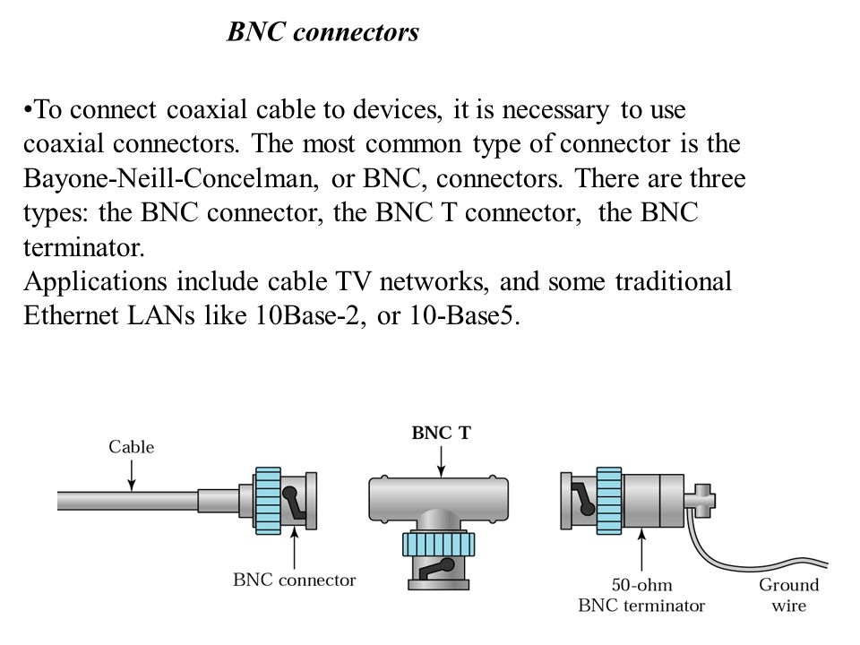 BNC connectors To connect coaxial cable to devices, it is necessary to use.