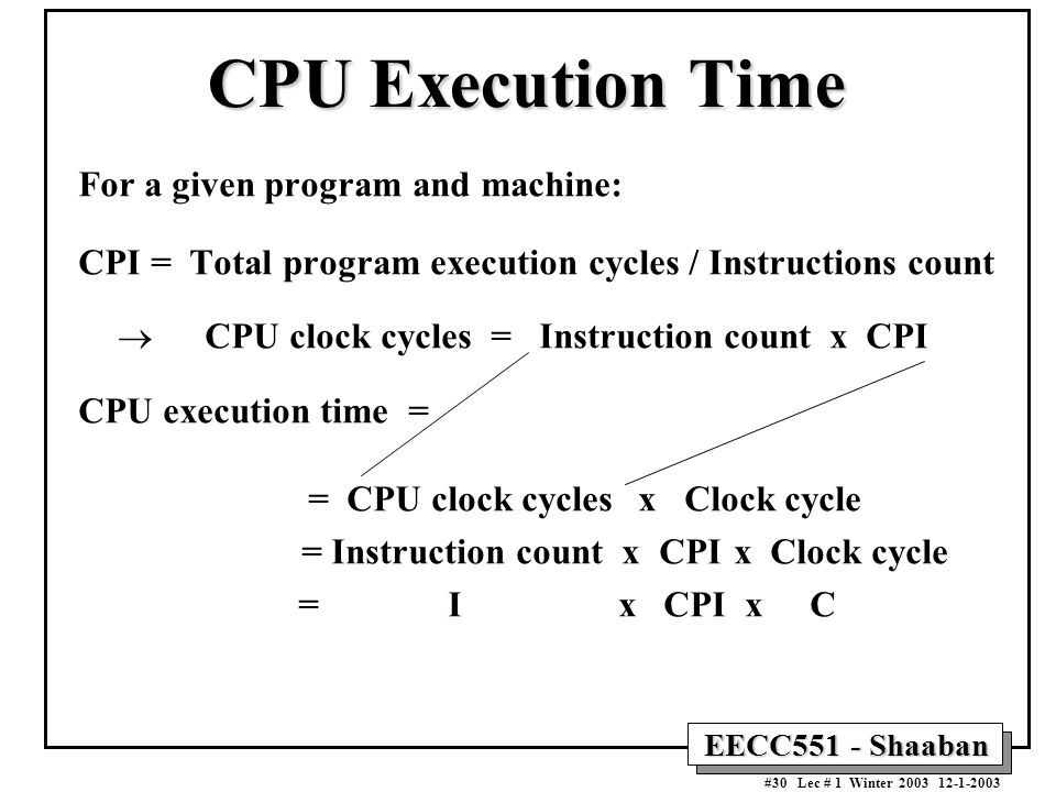 CPU Execution Time For a given program and machine: