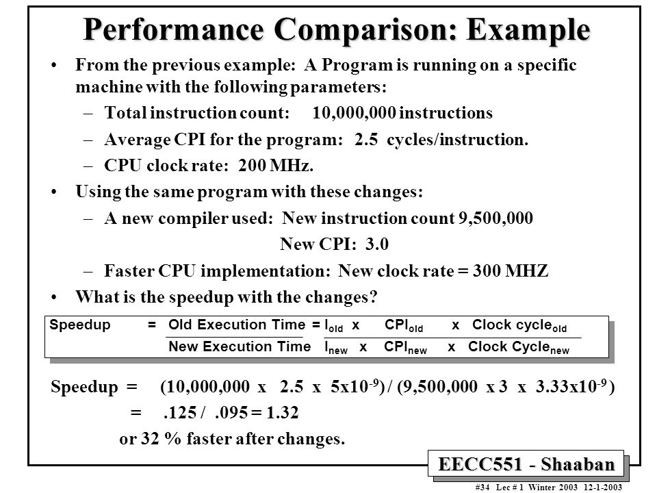 Performance Comparison: Example