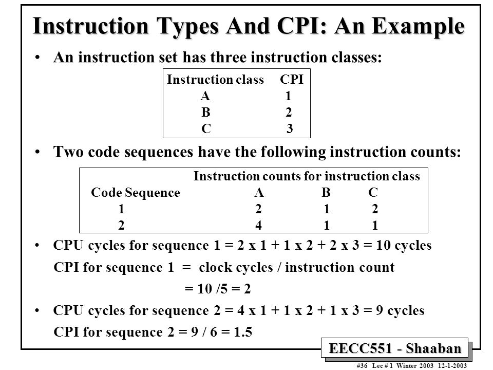Instruction Types And CPI: An Example