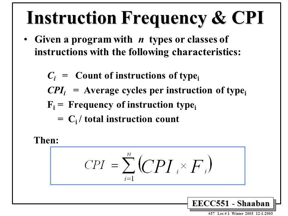 Instruction Frequency & CPI