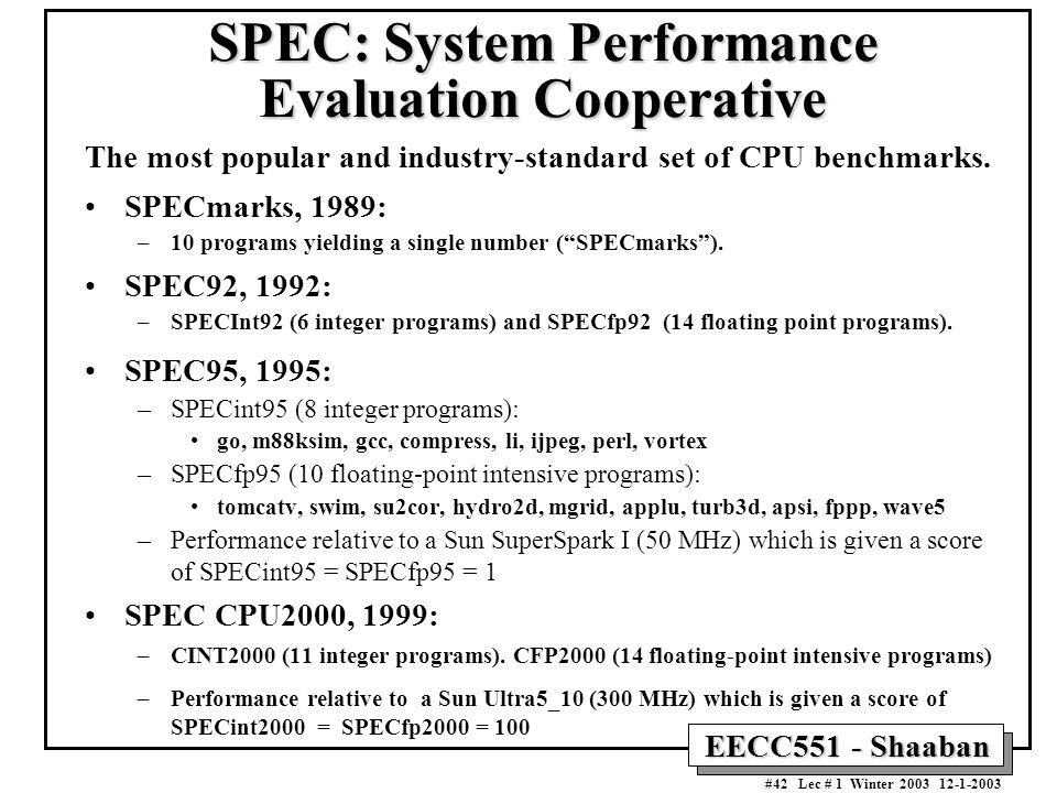 SPEC: System Performance Evaluation Cooperative