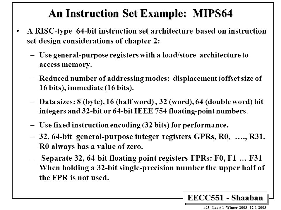 An Instruction Set Example: MIPS64
