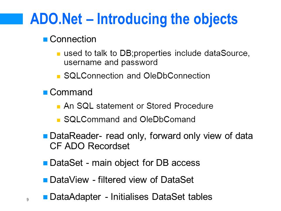 Introduction to ADO NET - ppt download