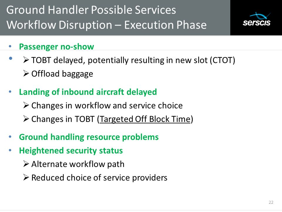 Ground Handler Possible Services Workflow Disruption – Execution Phase