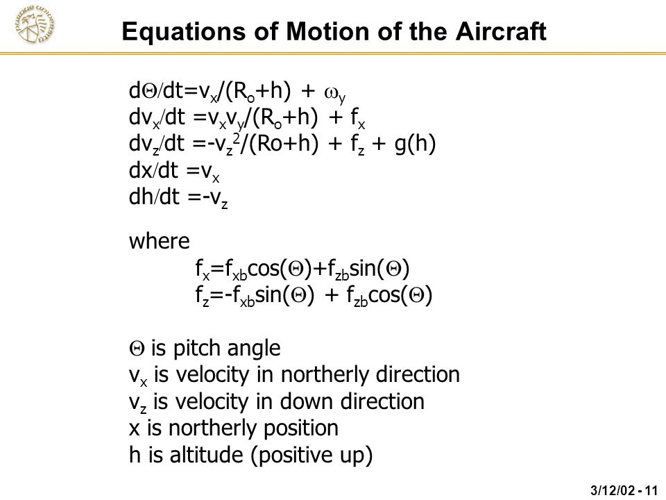 Equations of Motion of the Aircraft