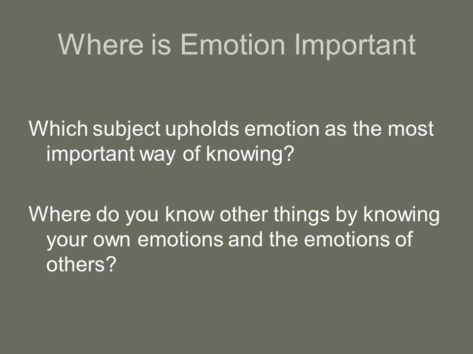 Where Is Emotion Important