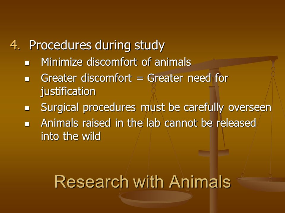 Research with Animals Procedures during study