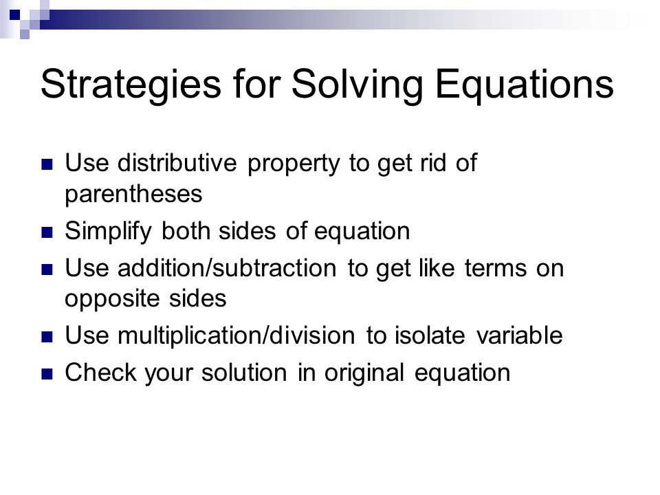 Strategies for Solving Equations