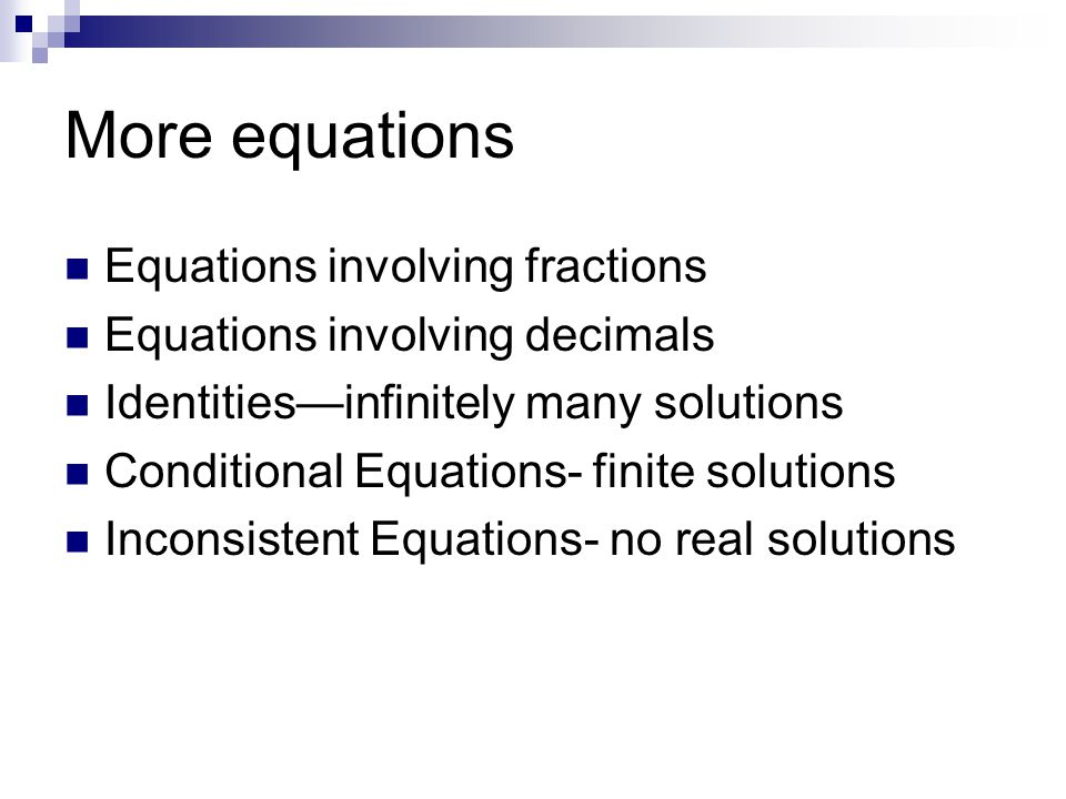 More equations Equations involving fractions