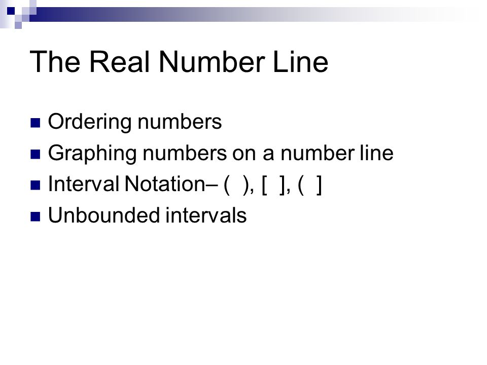The Real Number Line Ordering numbers