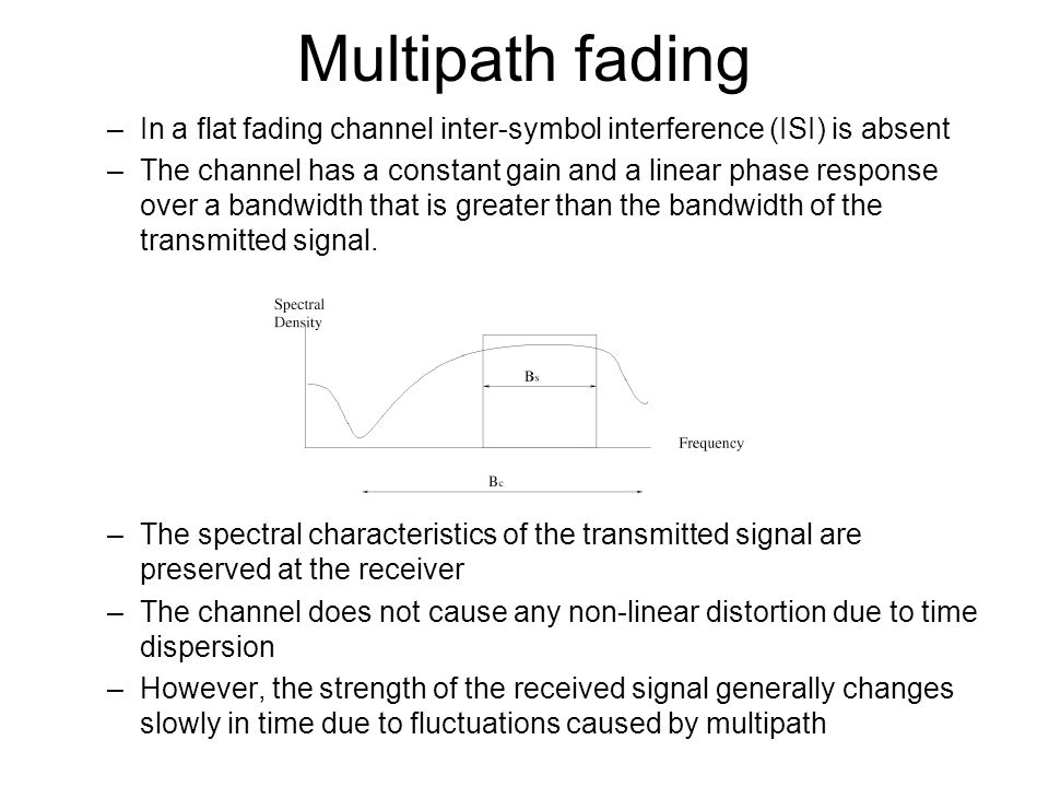 Multipath fading In a flat fading channel inter-symbol interference (ISI) is absent.