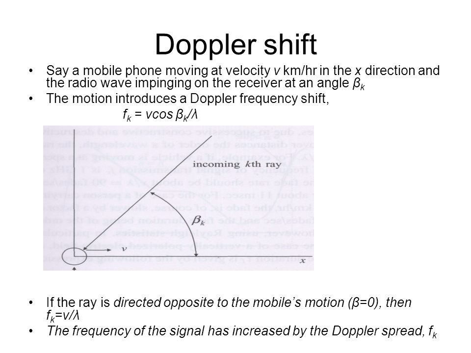 Doppler shift Say a mobile phone moving at velocity v km/hr in the x direction and the radio wave impinging on the receiver at an angle βk.
