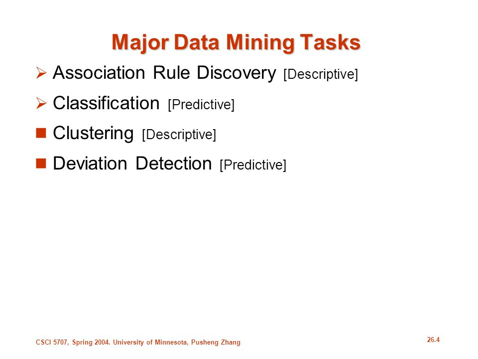 Major Data Mining Tasks
