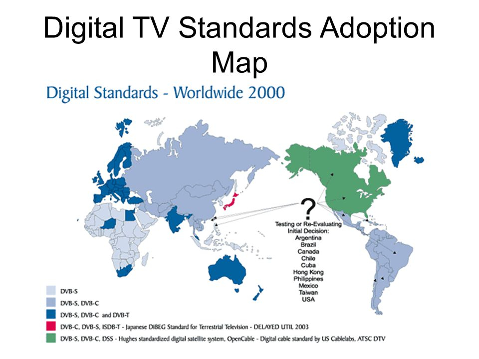 Digital television based on the mpeg 2 standard ppt video online 6 digital tv standards adoption map gumiabroncs Image collections