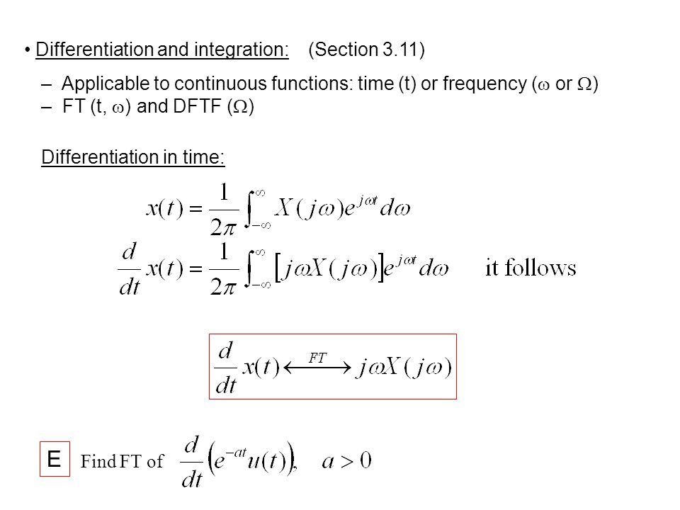 E Differentiation and integration: (Section 3.11)