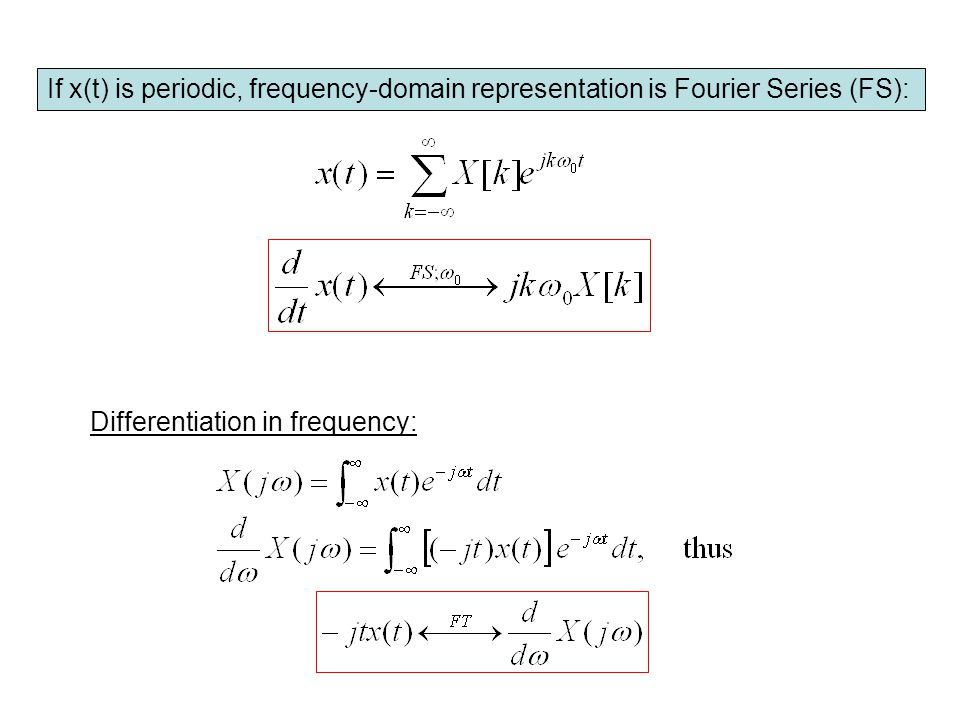 If x(t) is periodic, frequency-domain representation is Fourier Series (FS):