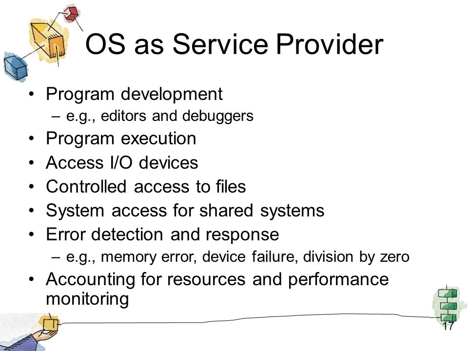 OS as Service Provider Program development Program execution