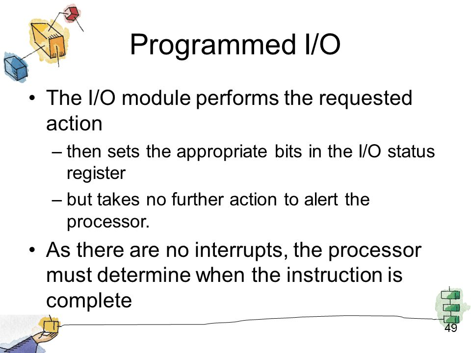 Programmed I/O The I/O module performs the requested action