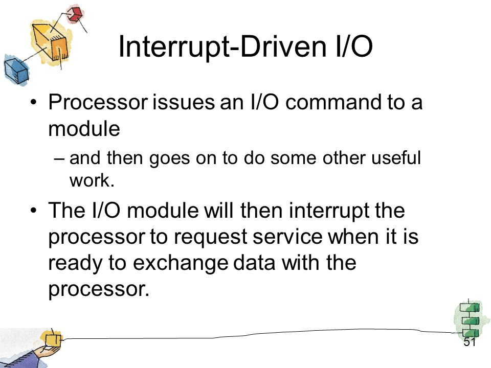 Interrupt-Driven I/O Processor issues an I/O command to a module