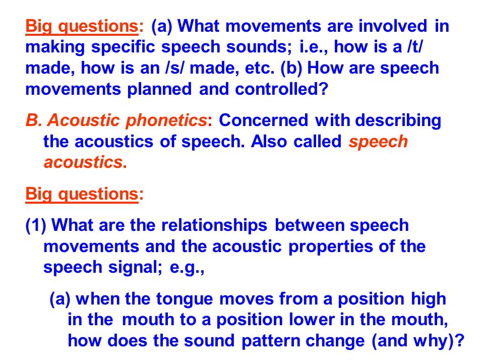Big questions: (a) What movements are involved in making specific speech sounds; i.e., how is a /t/ made, how is an /s/ made, etc. (b) How are speech movements planned and controlled