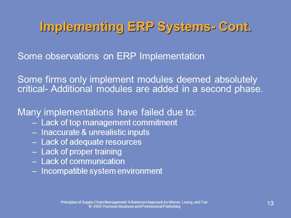 Implementing ERP Systems- Cont.