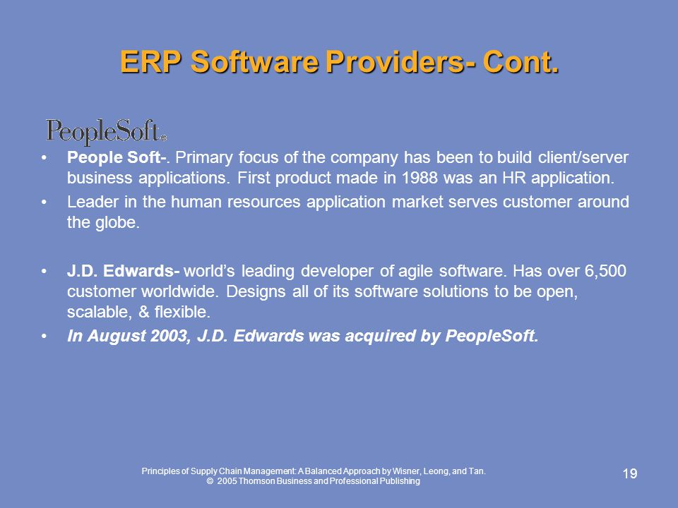 ERP Software Providers- Cont.