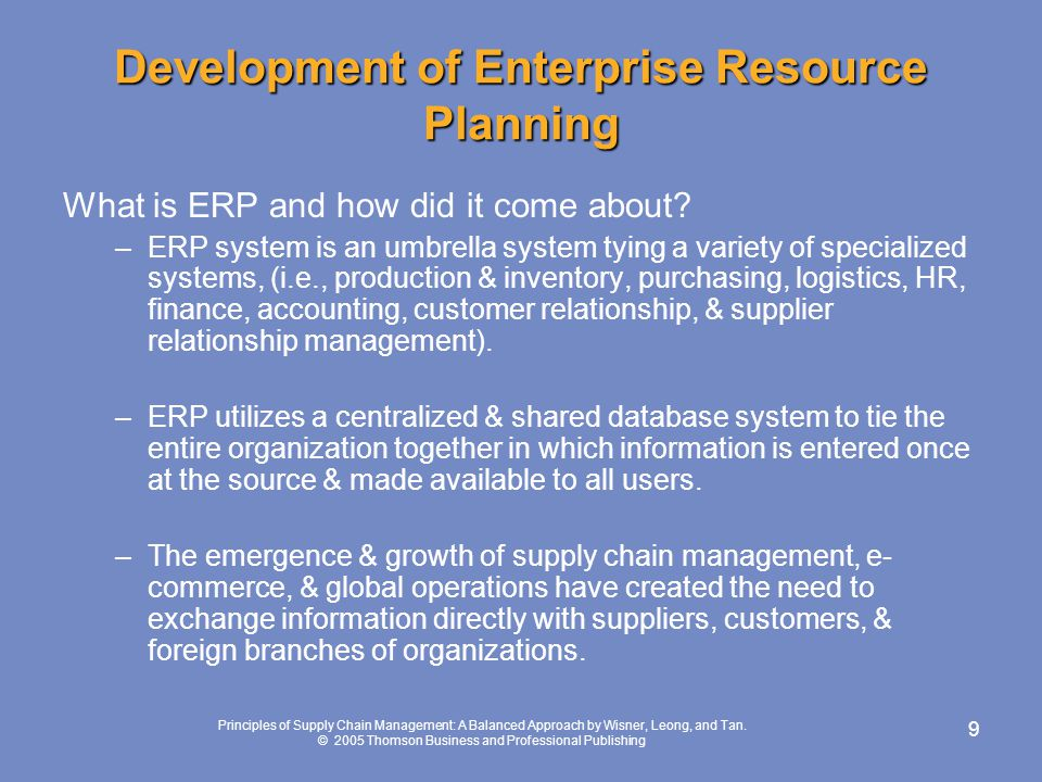 Development of Enterprise Resource Planning