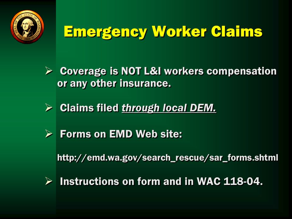 Emergency Worker Claims