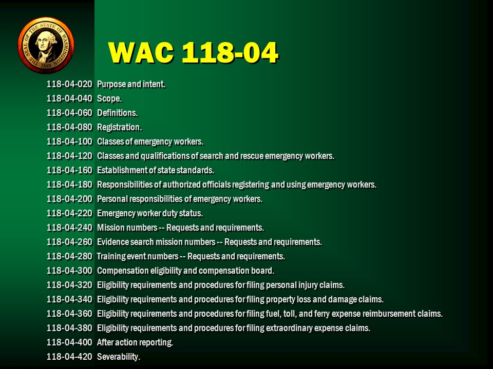 WAC Purpose and intent Scope.