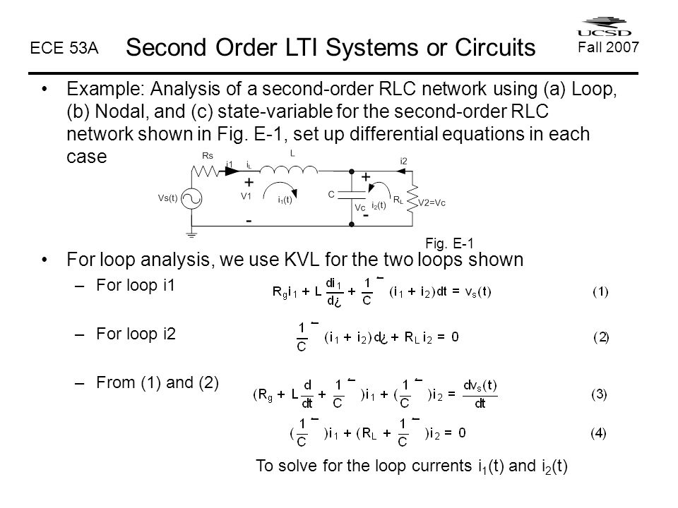 Rlc Circuits Equations Differential Writing - Enthusiast Wiring ...