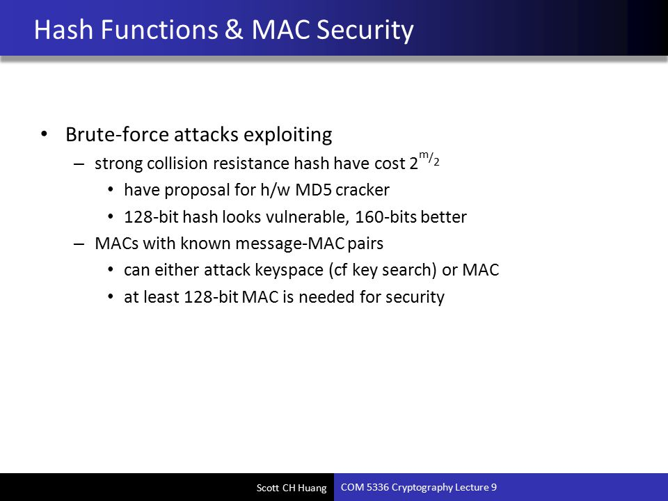 COM 5336 Cryptography Lecture 9 Hash, MAC, HMAC - ppt video