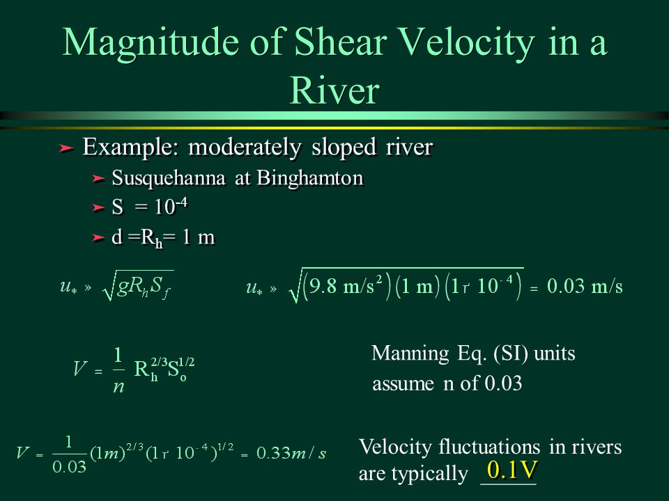 Magnitude of Shear Velocity in a River